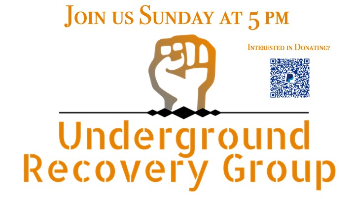 Underground Recovery Logo, Meetings are Sunday at 5 PM